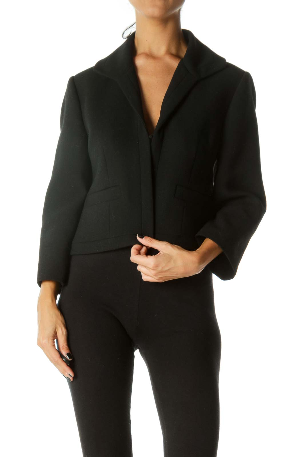 Black Textured Hook Closure Faux-Pockets Padded Shoulders Blazer Front