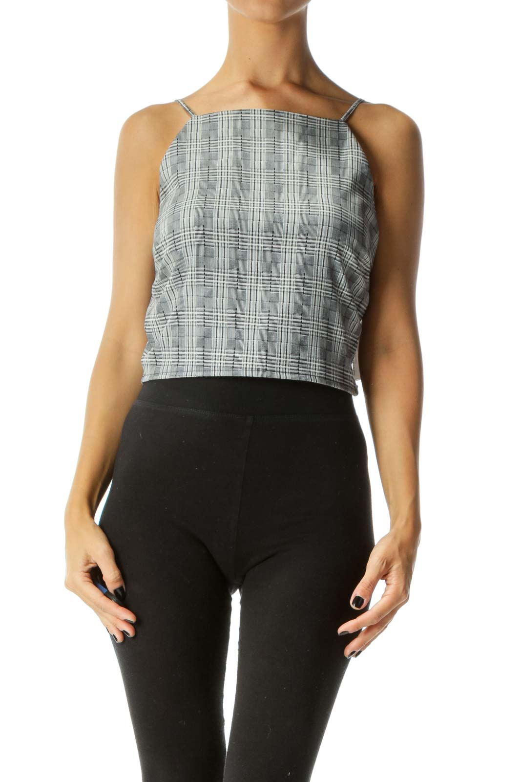 Grey Black & White Plaid Spaghetti-Strap High-Neck Crop-Top Front