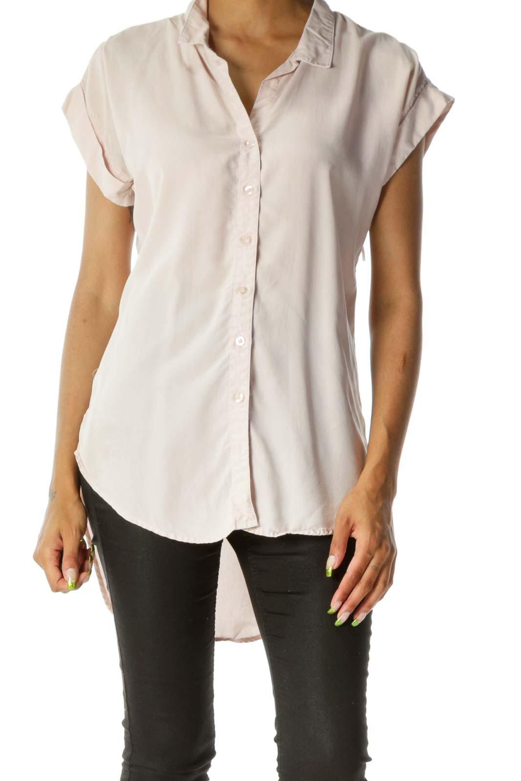 Light Pink Buttoned Short Sleeve Shirt Front