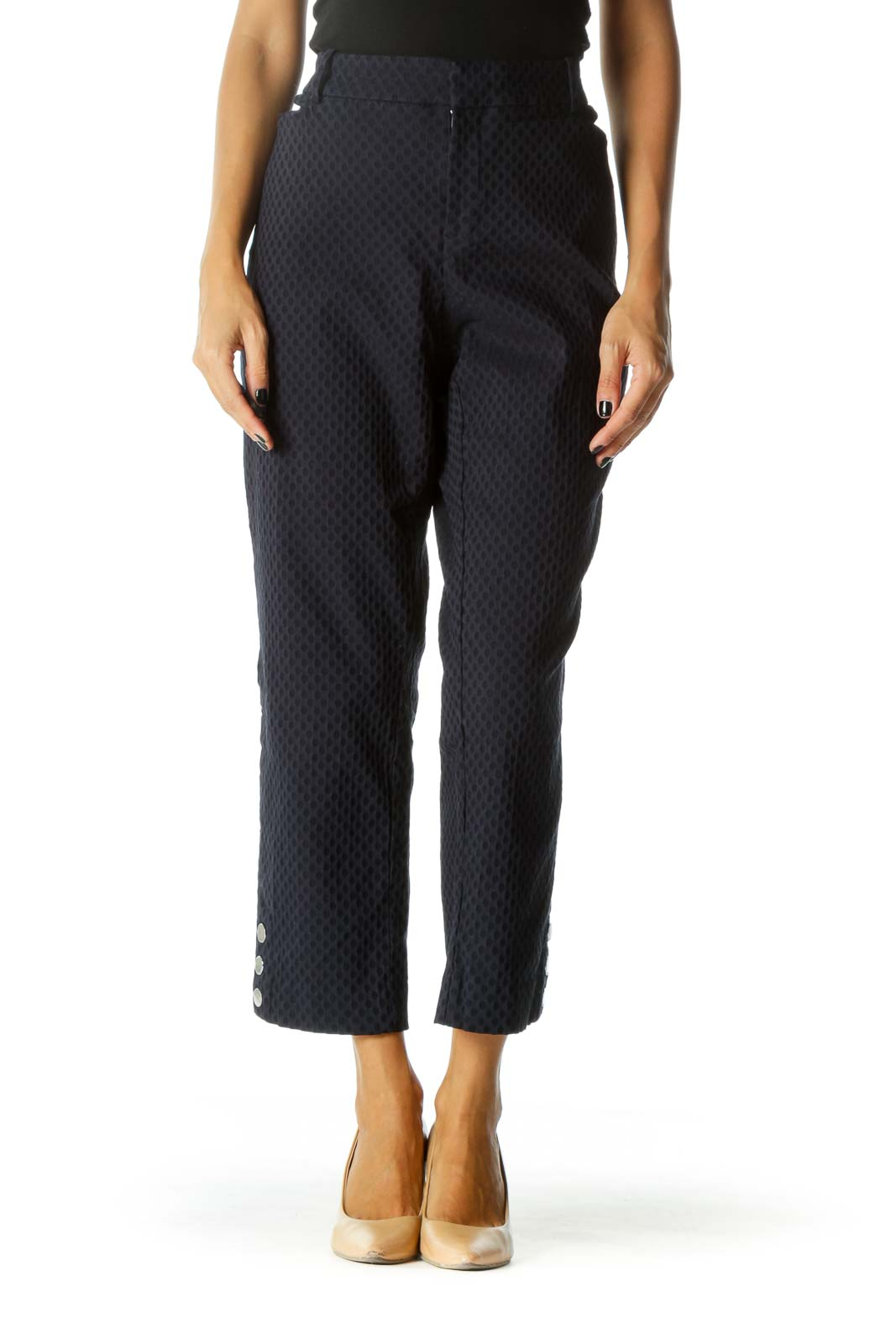 Navy Blue Textured Ankle Buttons Tapered Pants Front
