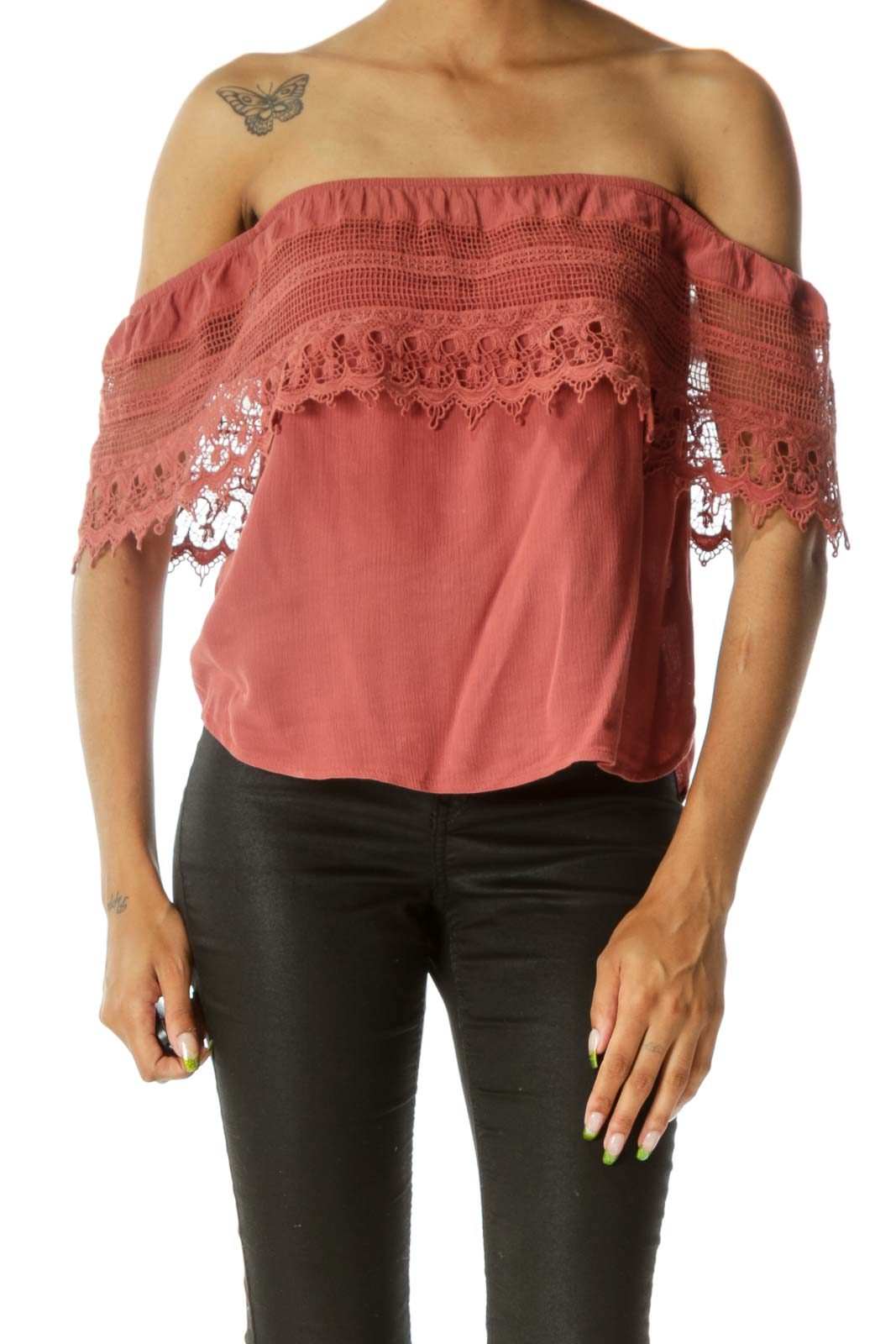 Pink Lace Off-The-Shoulder Blouse Front