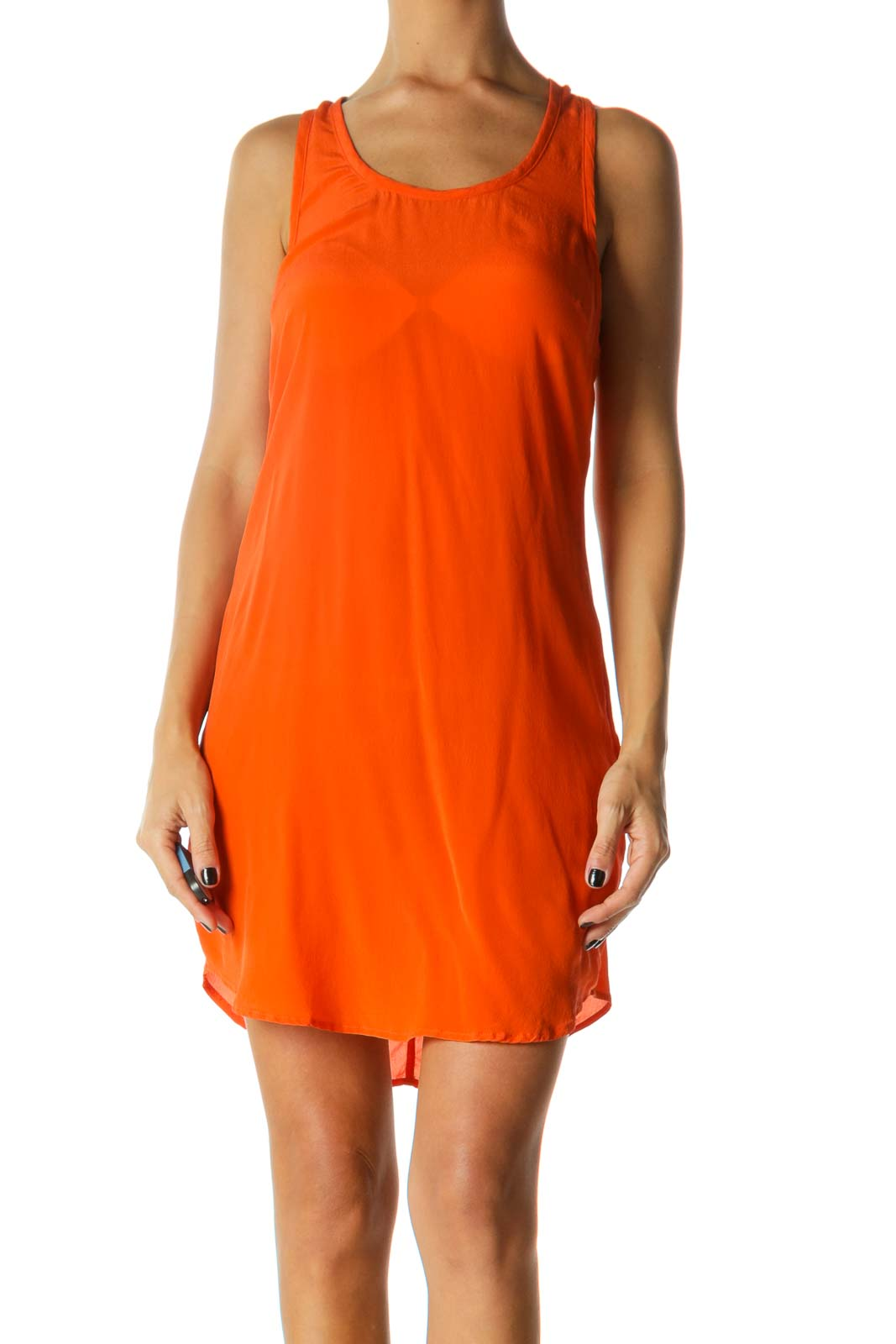 Orange Round Neck Racerback 100% Silk Dress Front