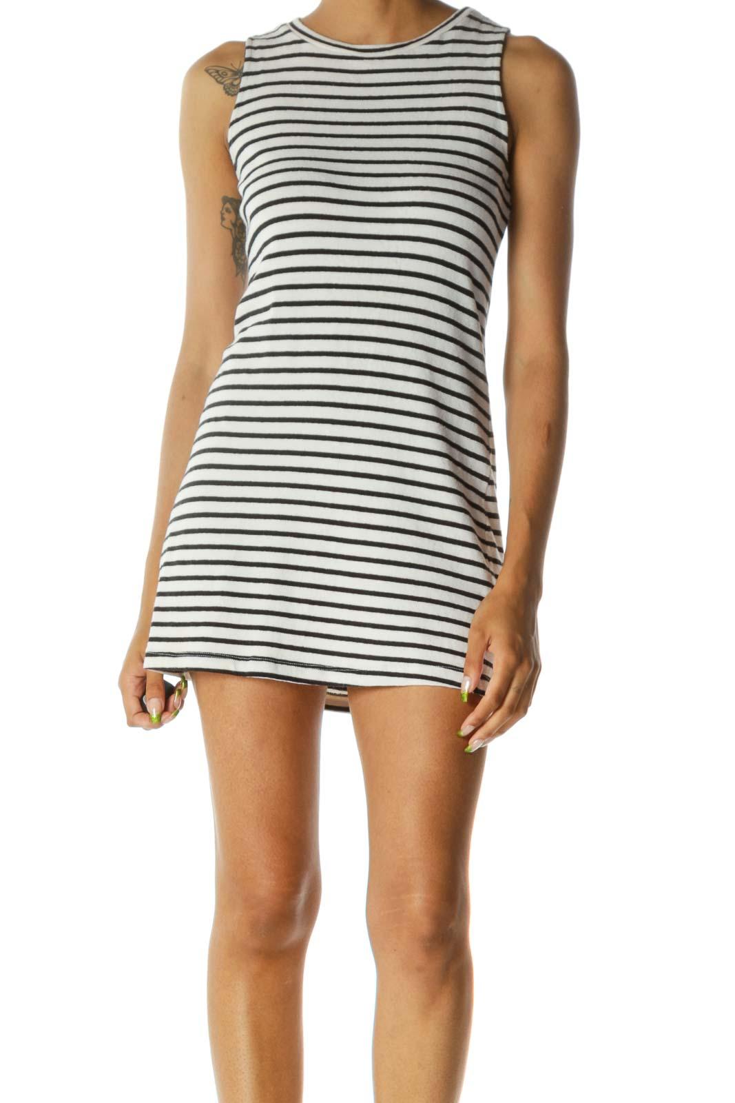 Black White Round Neck Striped Stretch Knit Dress Front