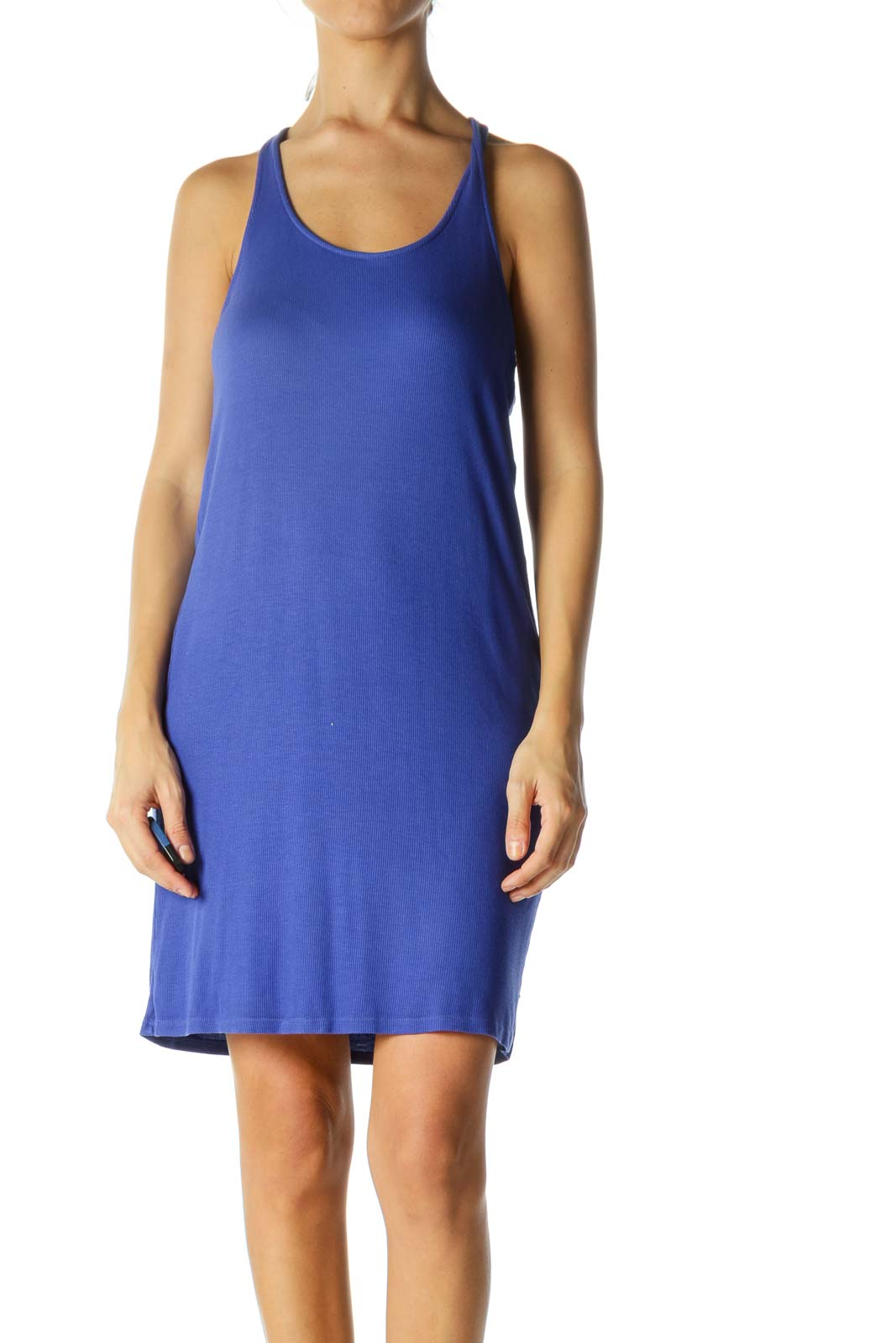 Blue Ribbed Racerback Day Dress Front