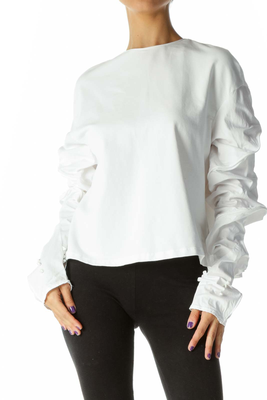 White and Gold Blouse  Front
