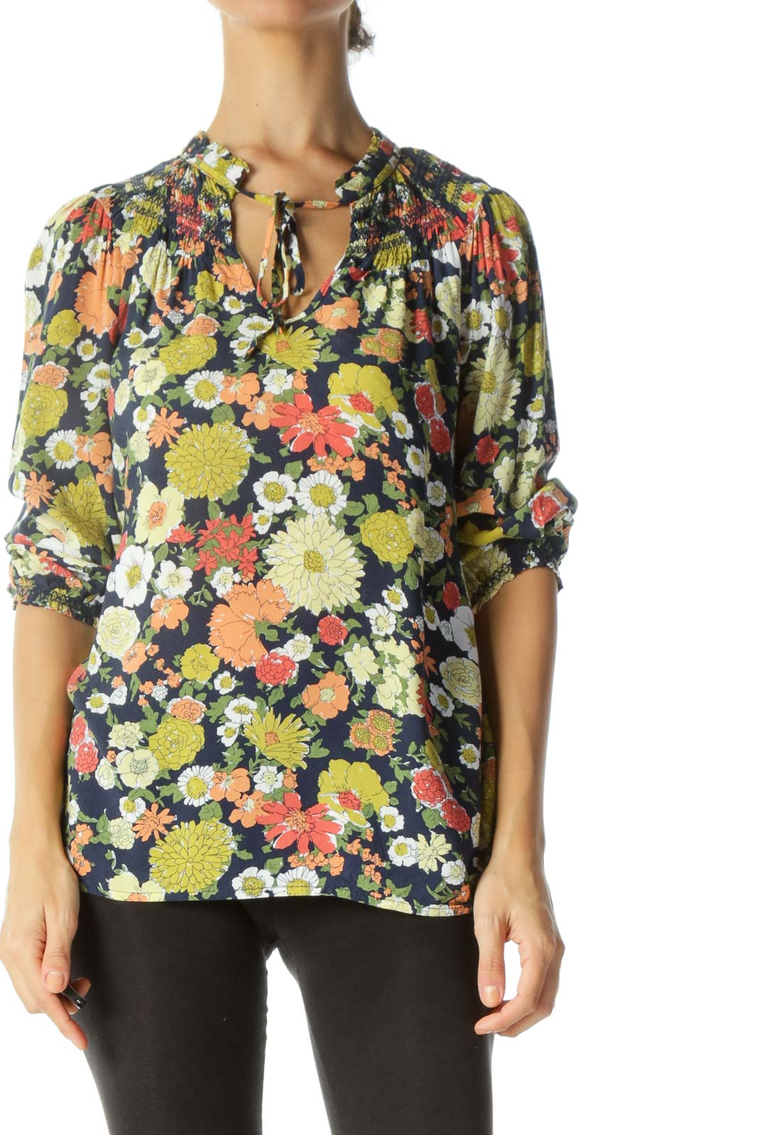 Navy & Multicolored Floral-Print Neck-Tie Shirring 3/4-Sleeve Blouse Front