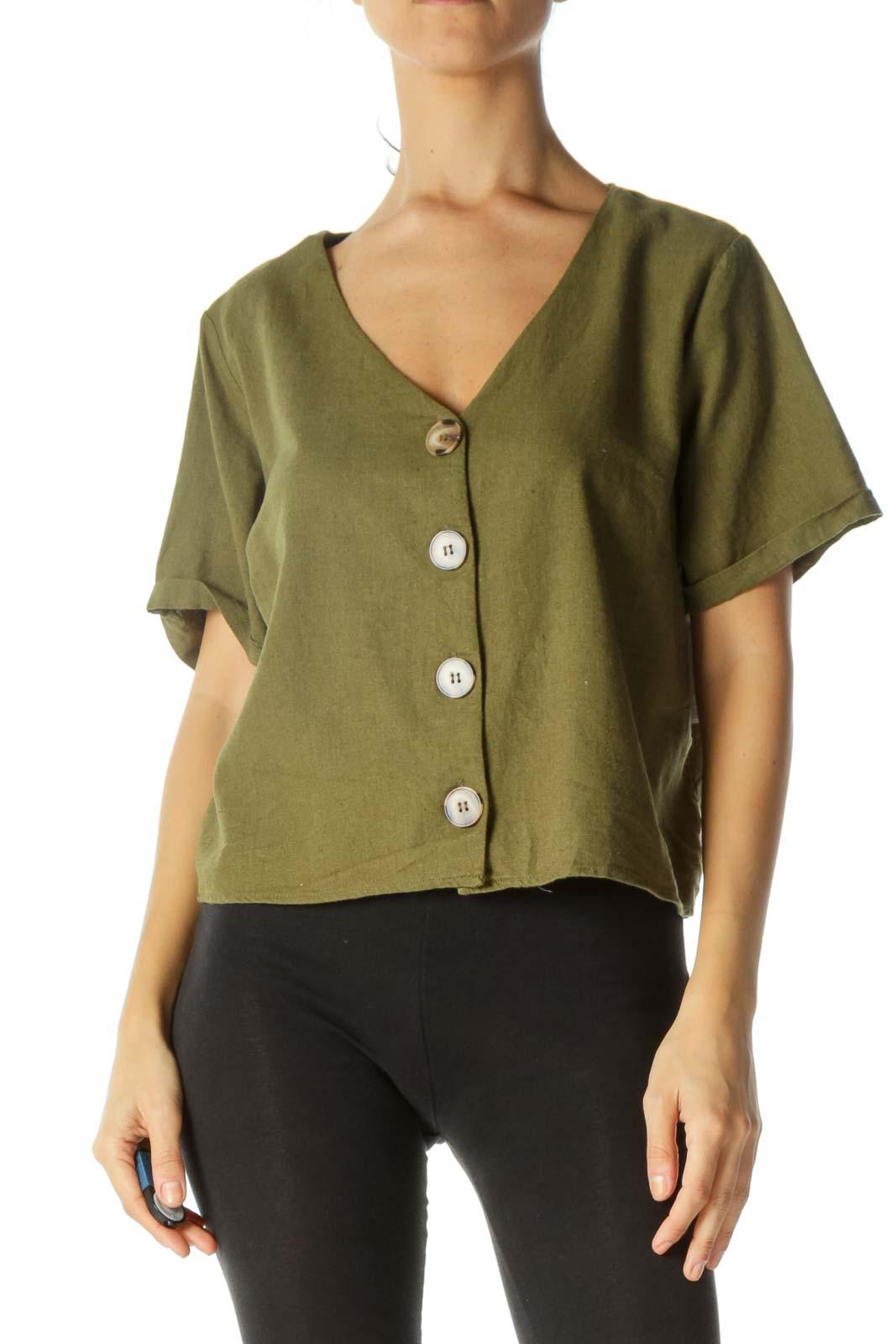 Green V-Neck Buttoned Linen Short-Sleeve Top Front