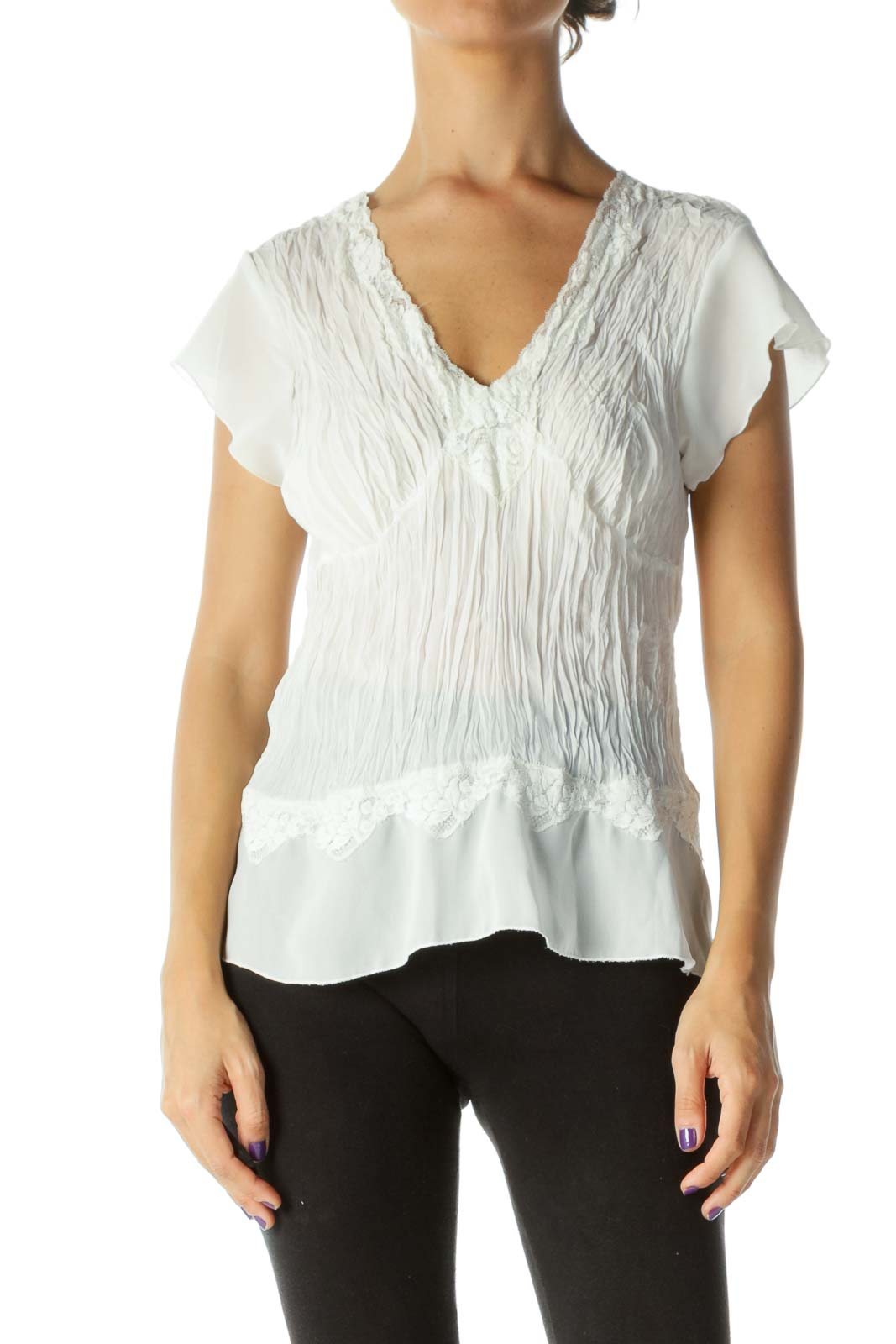 White Ruched Sheer Top Front