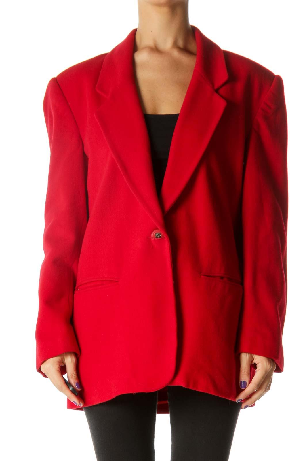 Red Wool Blend Padded Shoulders Pocketed Jacket Front