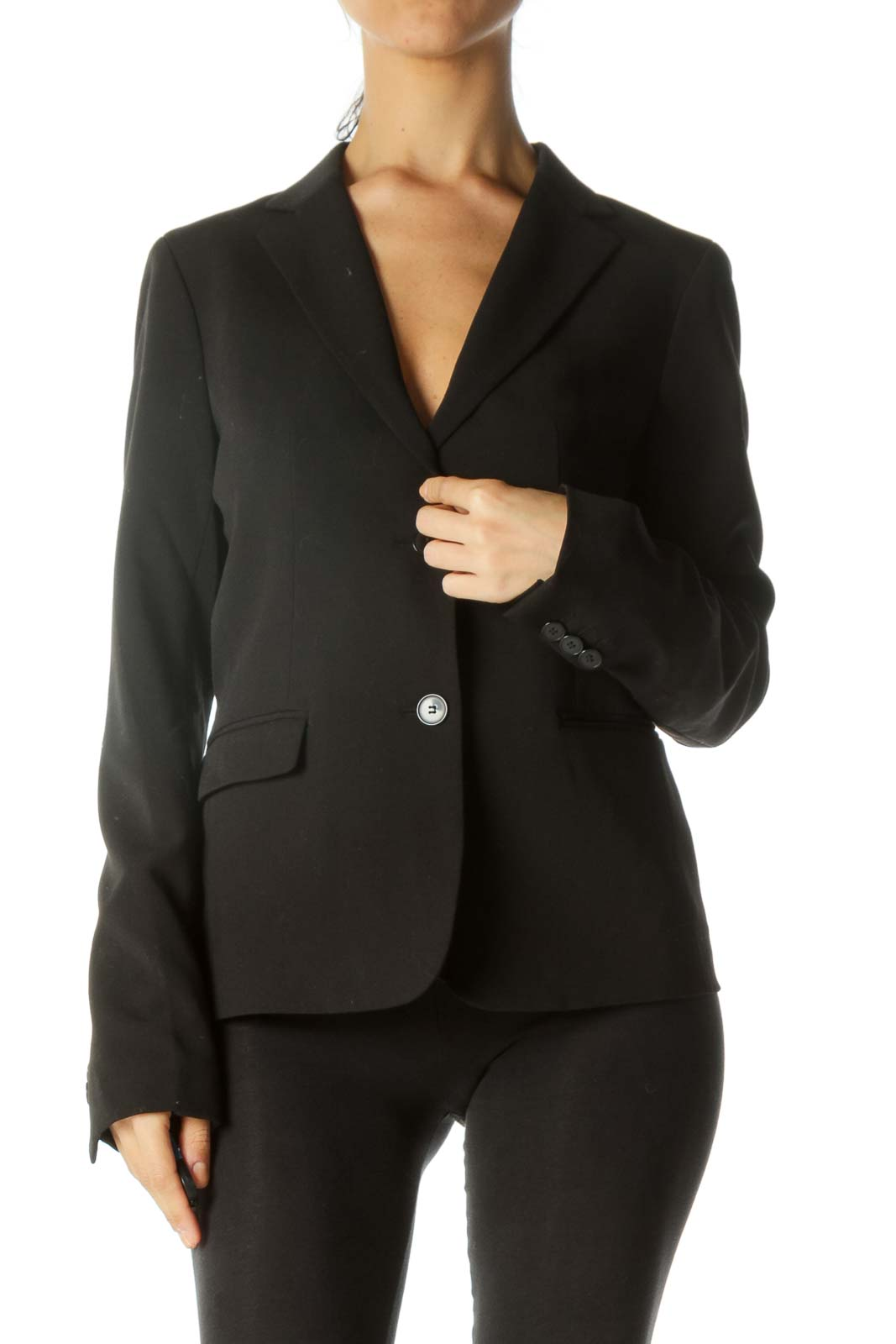 Black Button Pocketed Blazer  Front