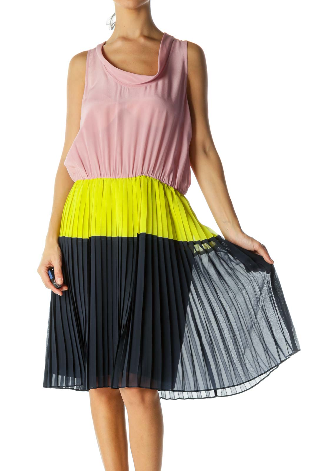 Pink Silk Color Block Pleated Dress Front