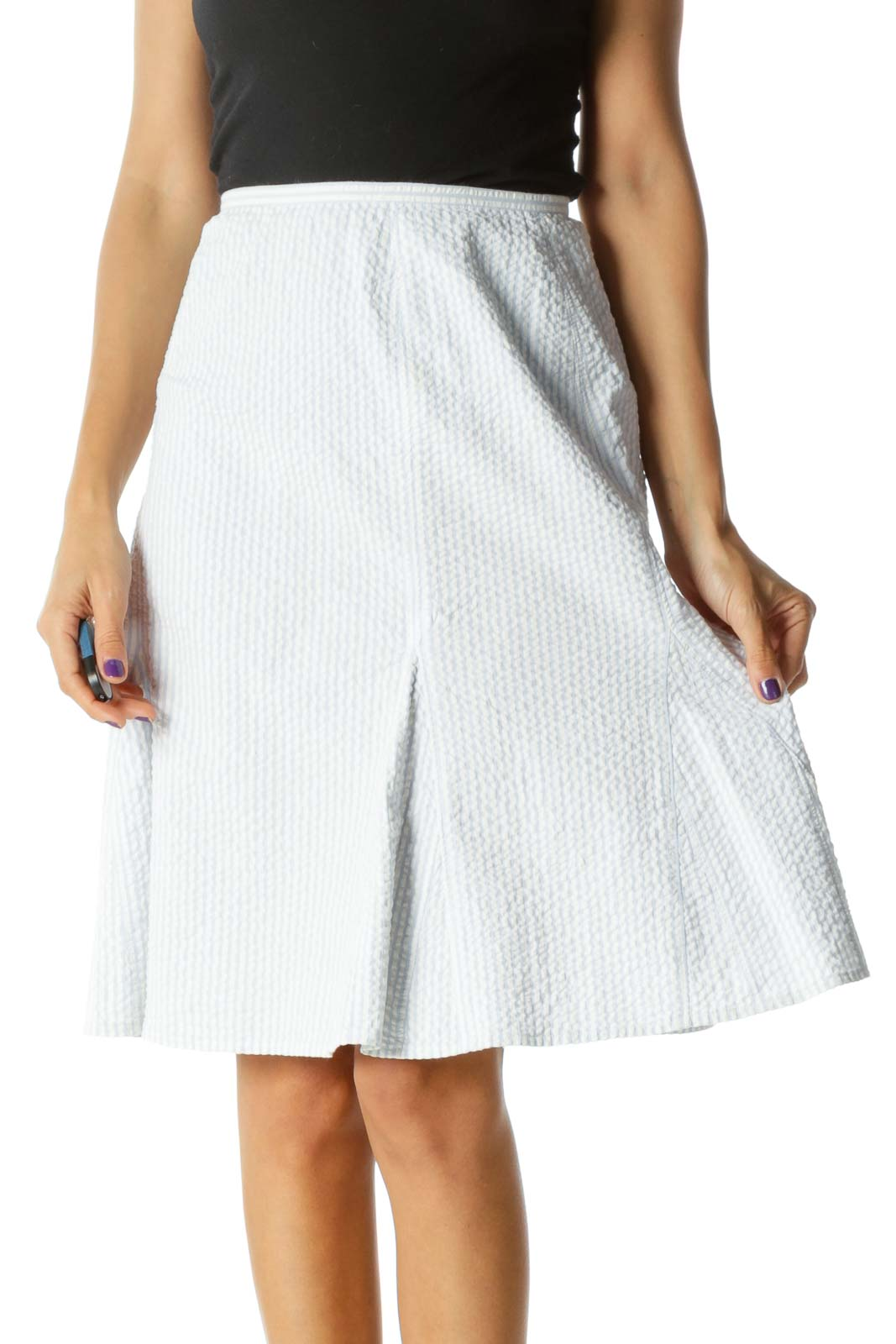 Blue White Striped Stretch Cinched Waist Flared Skirt Front