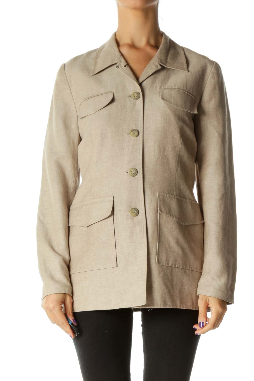 Beige Pocketed Buttoned Linen Padded Shoulders Jacket Front
