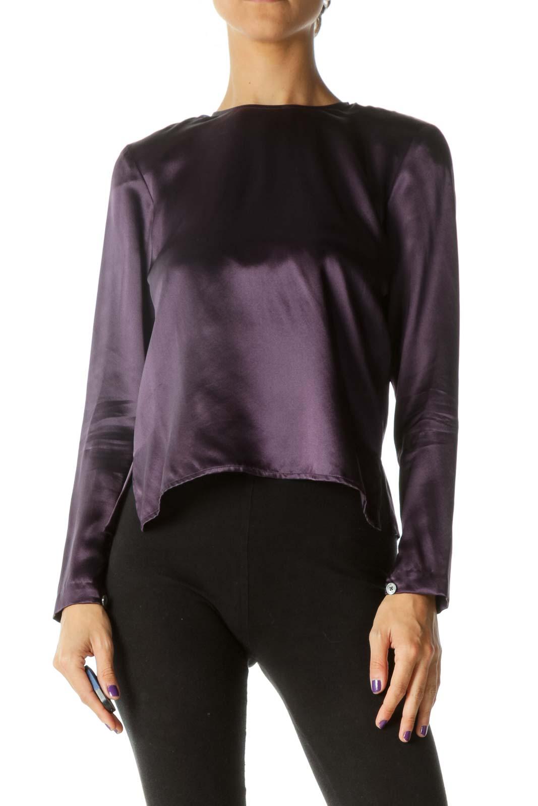 Purple 100% Silk Back Buttons Soft Shiny Top (Shoulder Pads) Front