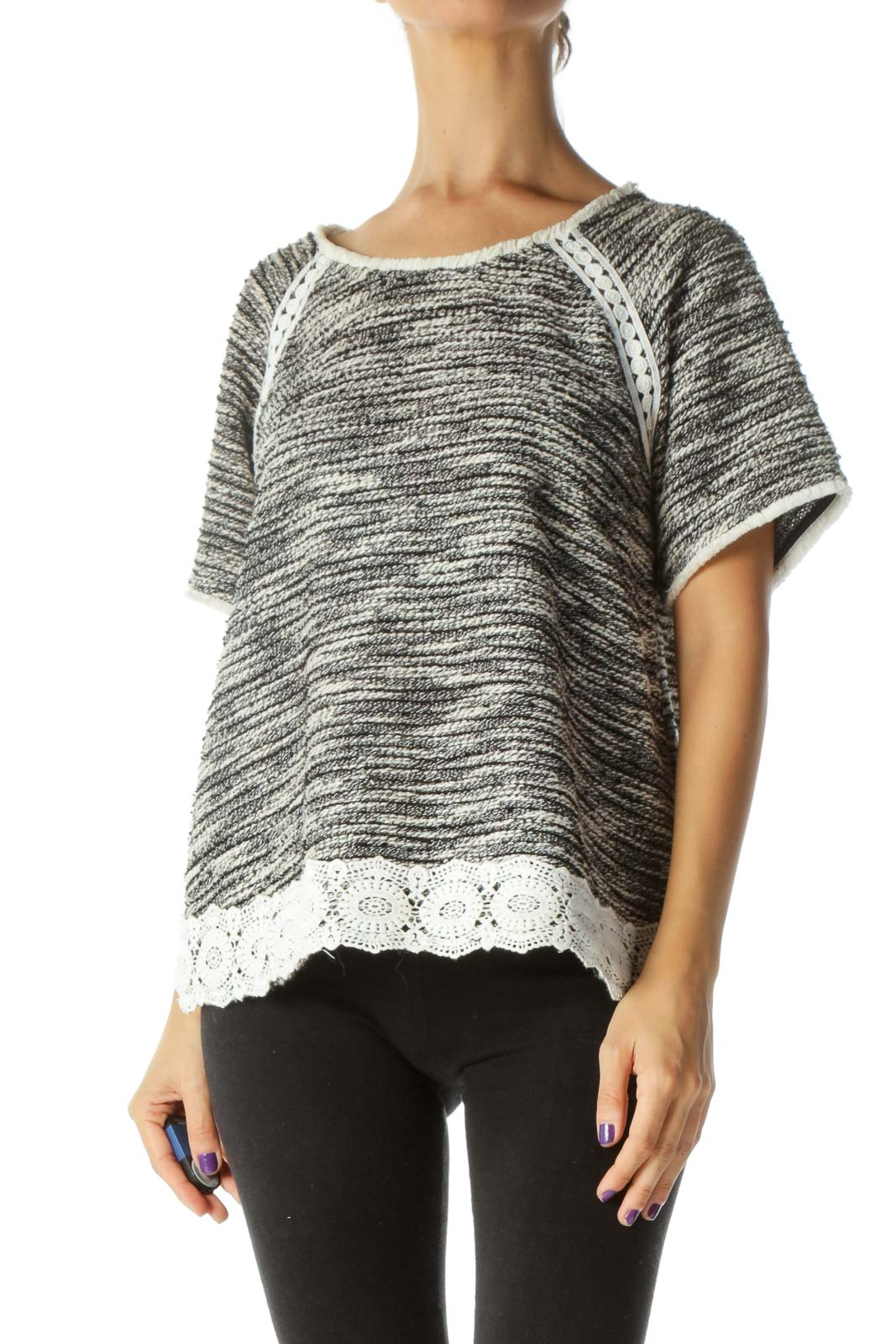 Black White Knit Mixed Media Short Sleeve Top Front