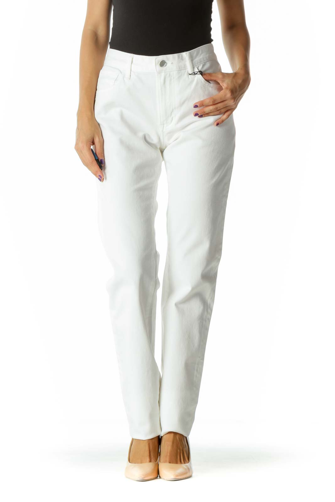 Bright White Stretch Skinny Pants Front