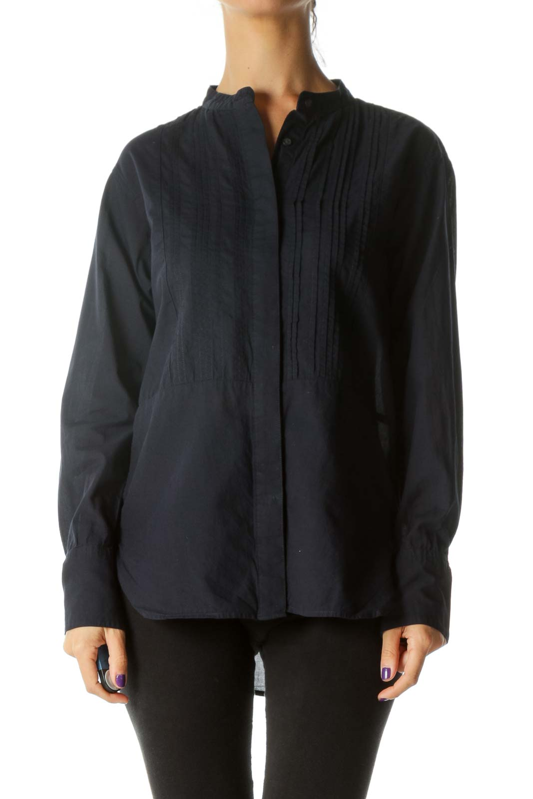 Navy Blue 100% Cotton Pleated Round Neck Shirt Front