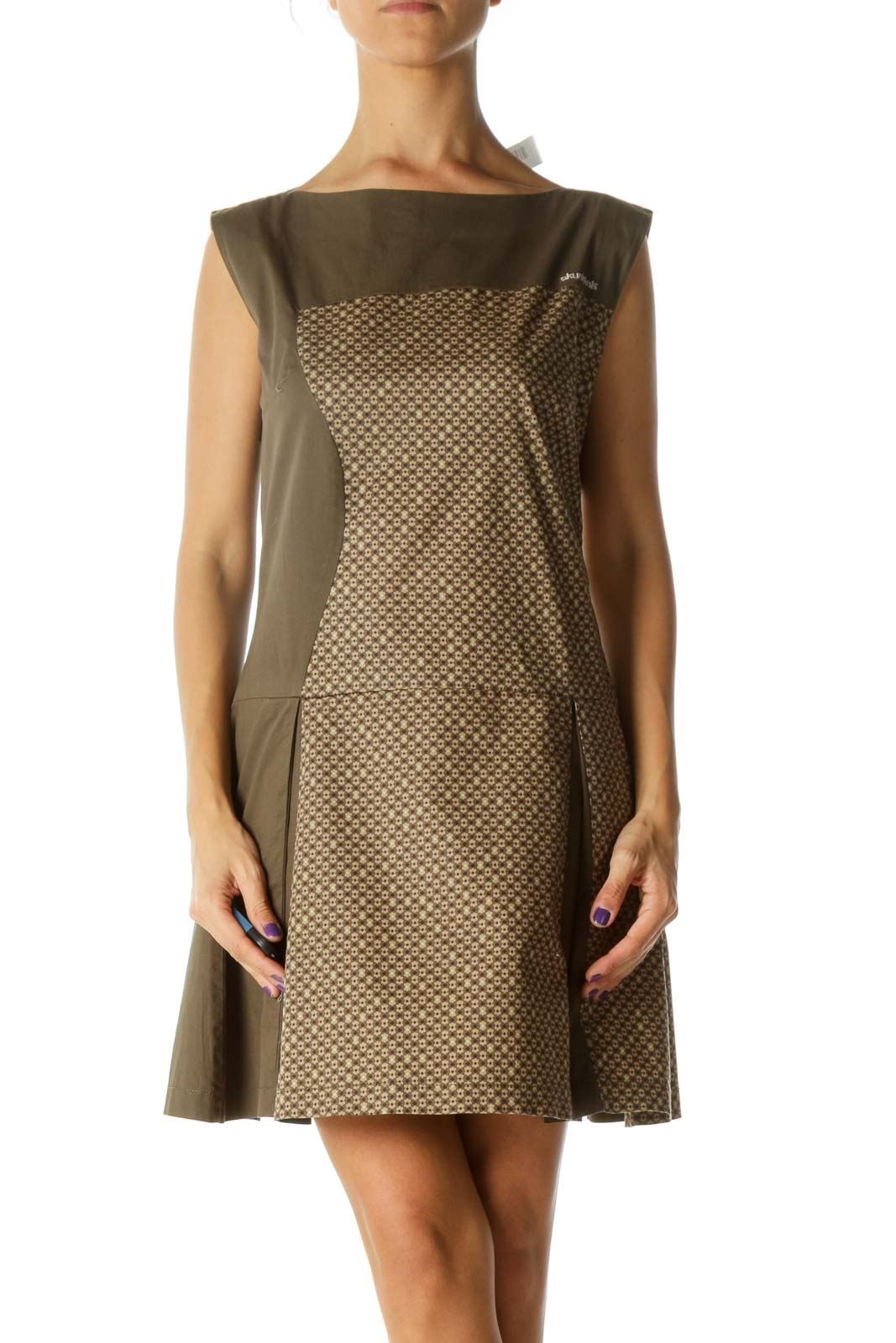 Green Brown Blue Print Pleated Boat Neck Dress Front