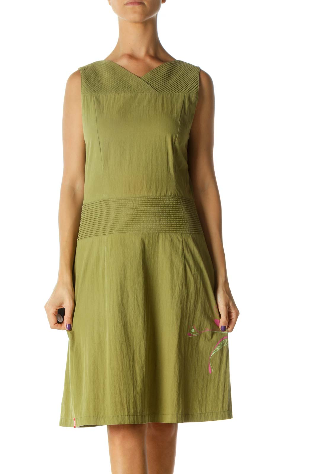 Green Pink Print Pleated Detail Stretch Day Dress Front