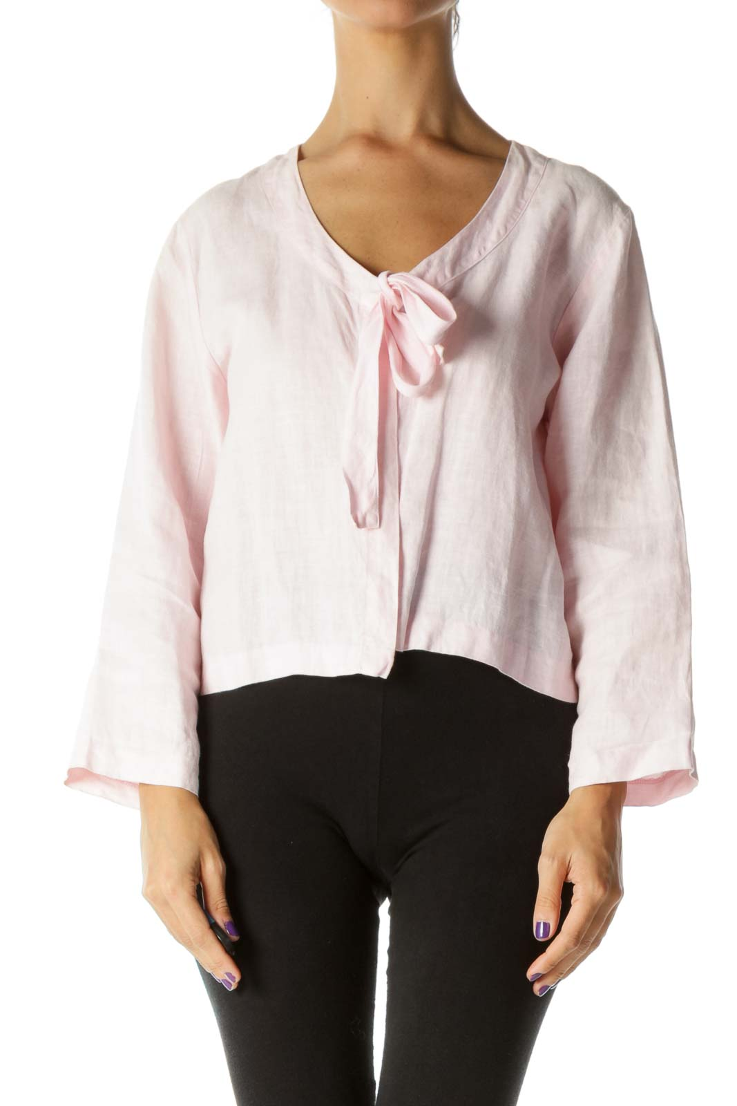 Pink Round Neck Front Knot Long Sleeve Light Jacket Front