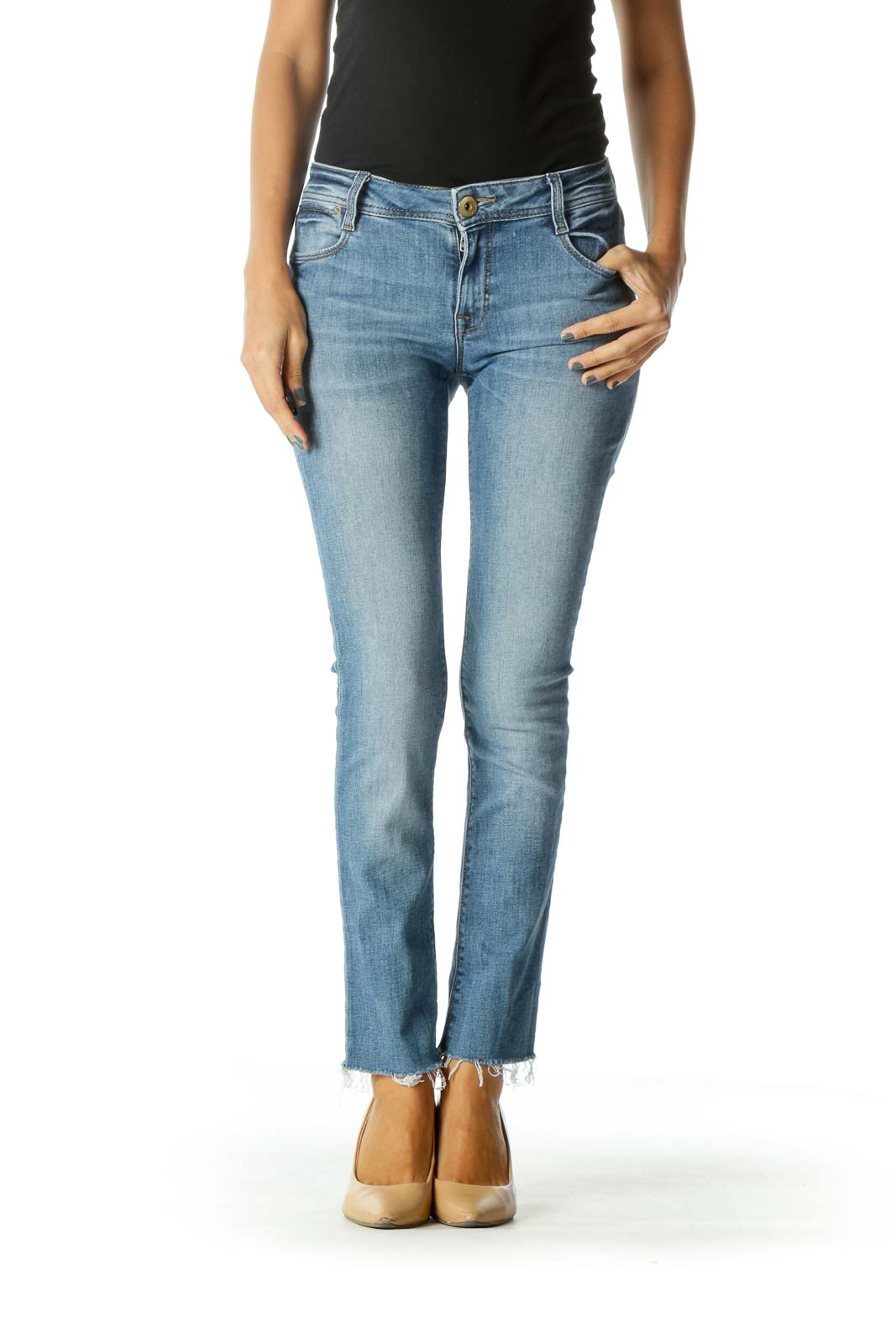 Blue Light Wash Stretch High Rise Raw Hem Denim Jeans Front