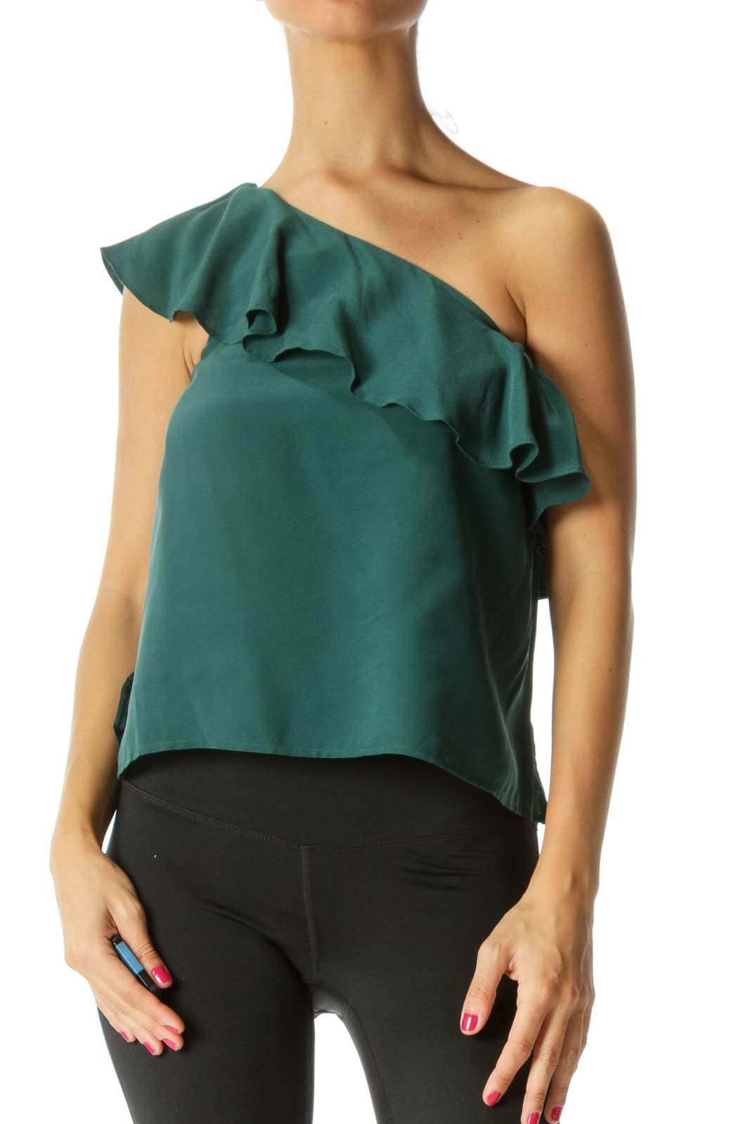 Green Silk Ruffle One-Shoulder Top Front