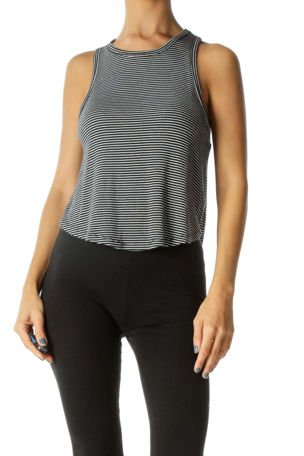 Black & White Striped Racer-Back Tank-Top Front