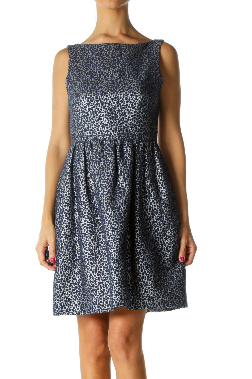 Blue Silver Textured Cinched Waist Dress Front