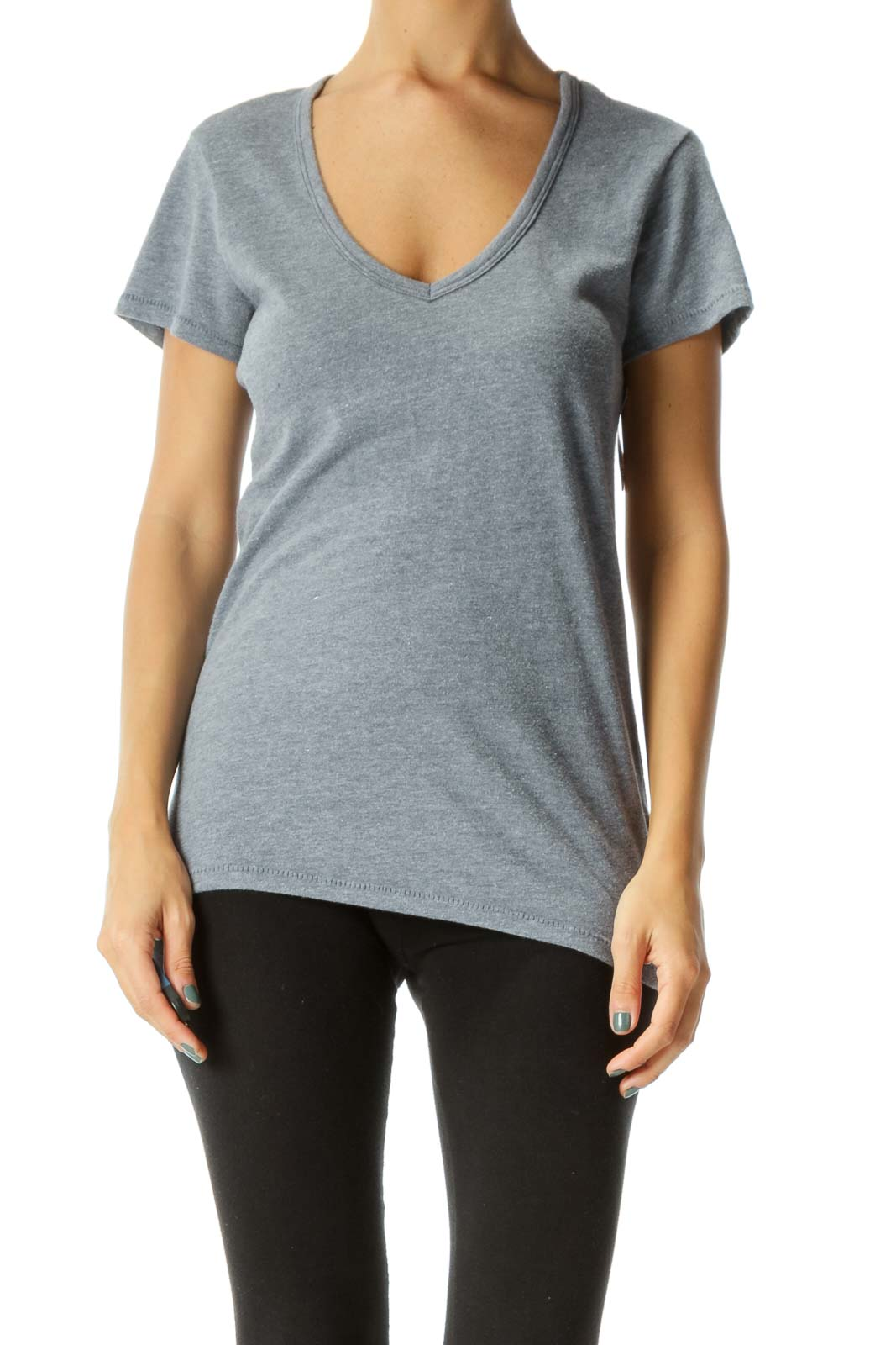 Gray Blue V-Neck Soft T-Shirt Front