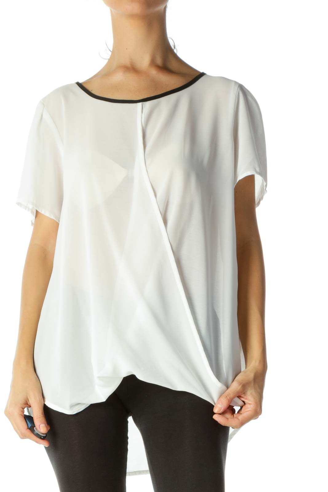 White&Black Sheer Wrap Top Front