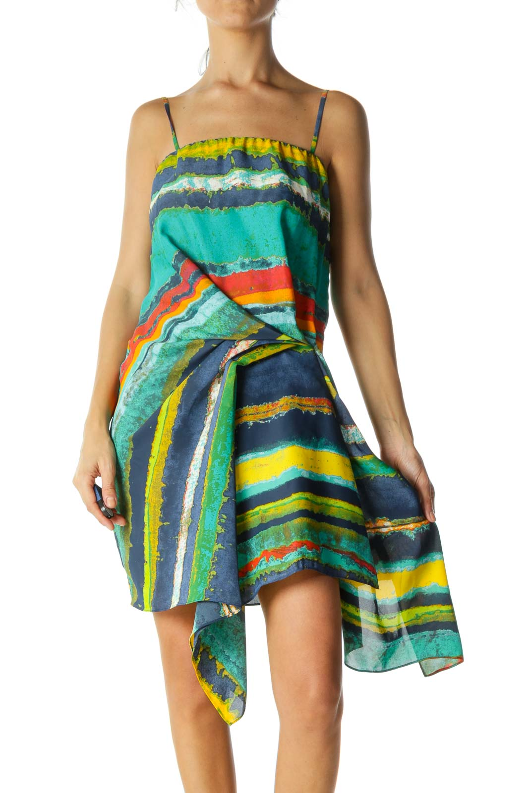 Multi Color Ruffled Cami Dress  Front