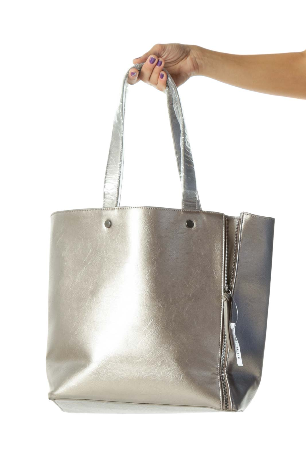Silver Gray Open Zippers and Tassels Details Open Tote Front