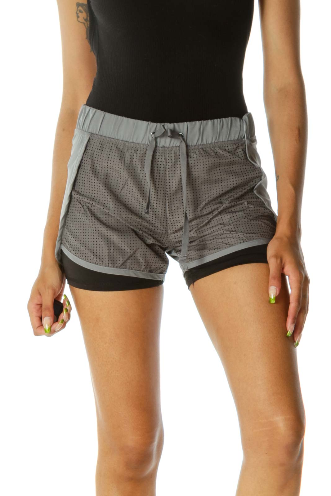 Gray Black Inside-Shorts Cut-Out Mesh Front Shorts Front