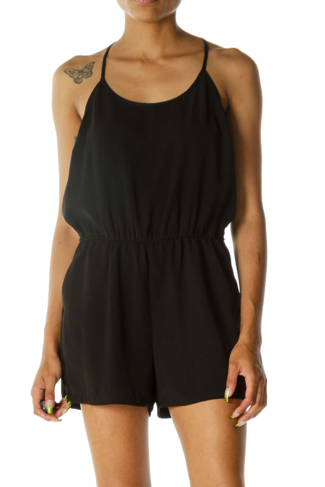 Black Back Lace Detail Elastic Waist Romper Front