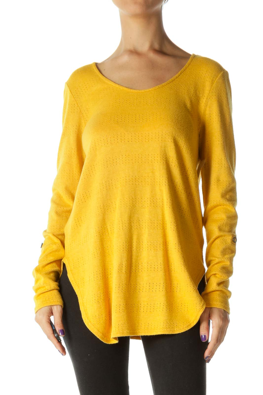 Mustard Yellow Roll-Up Sleeves Round Neck Stretch Knit Top Front