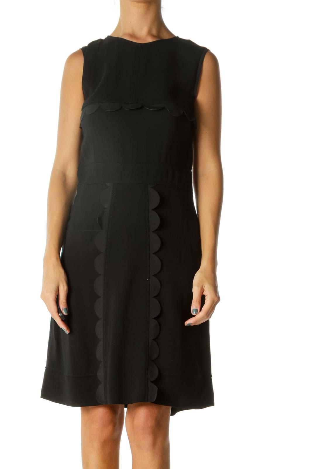 Black Silk Blend Designer Scalloped Detail Cocktail Dress Front
