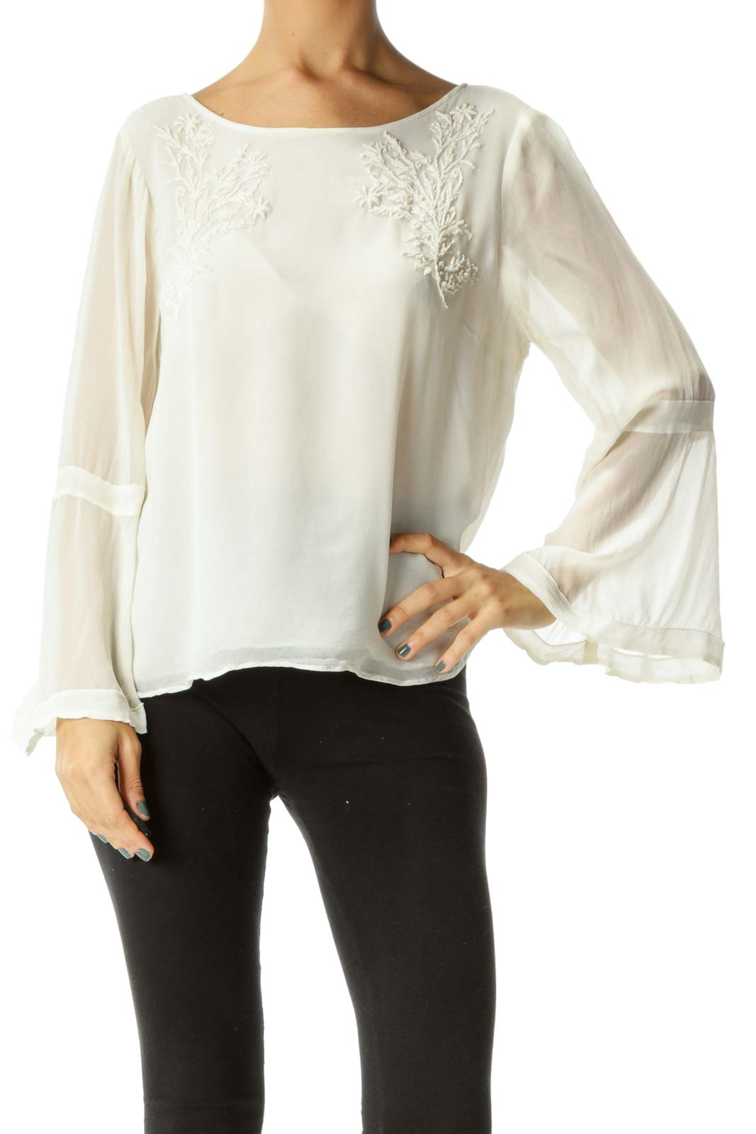 Cream Round Neck Knit Detail Long Sleeve Flared Blouse Front