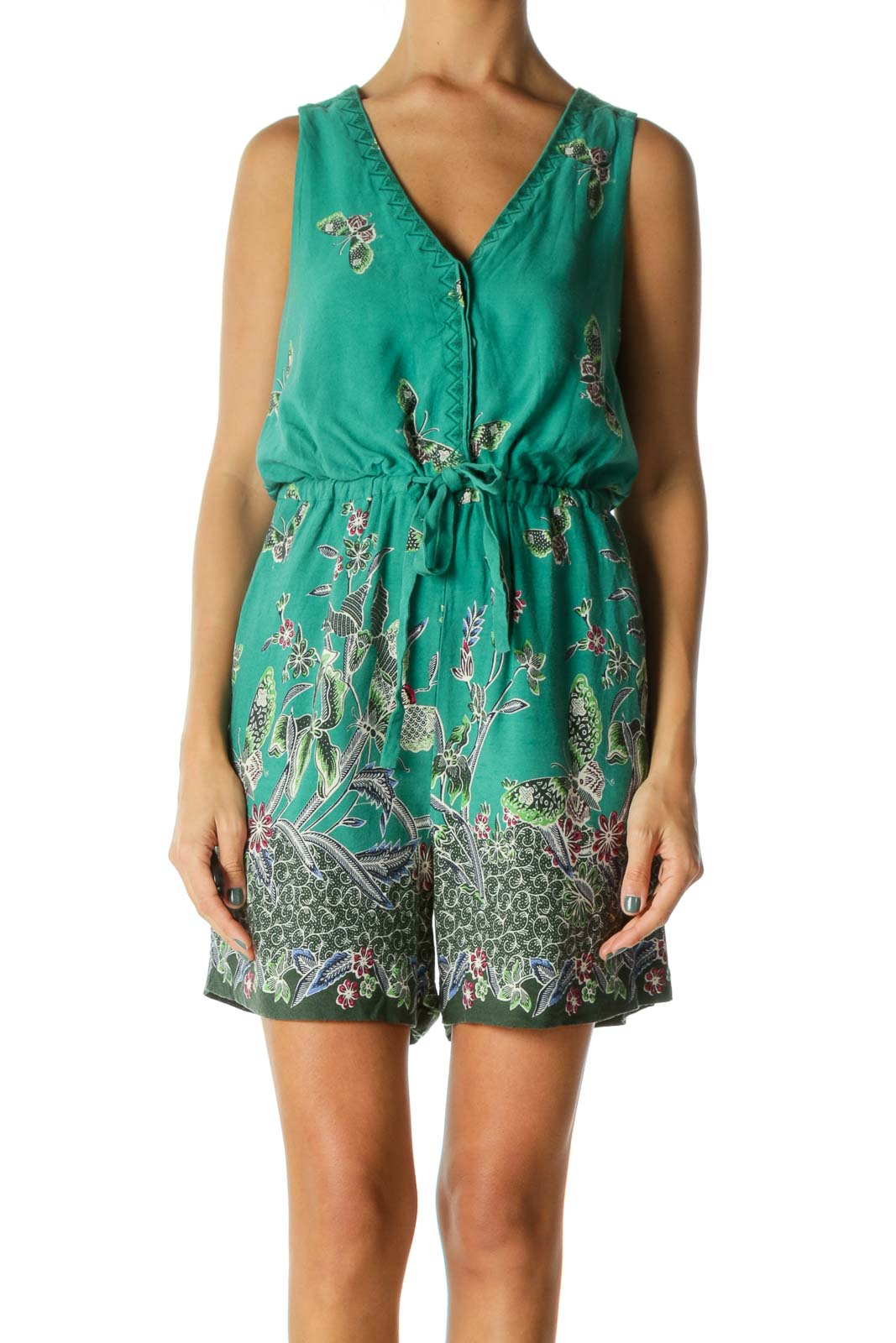 Green Pink Blue Cream Butterfly Floral Print Pocketed Romper Front