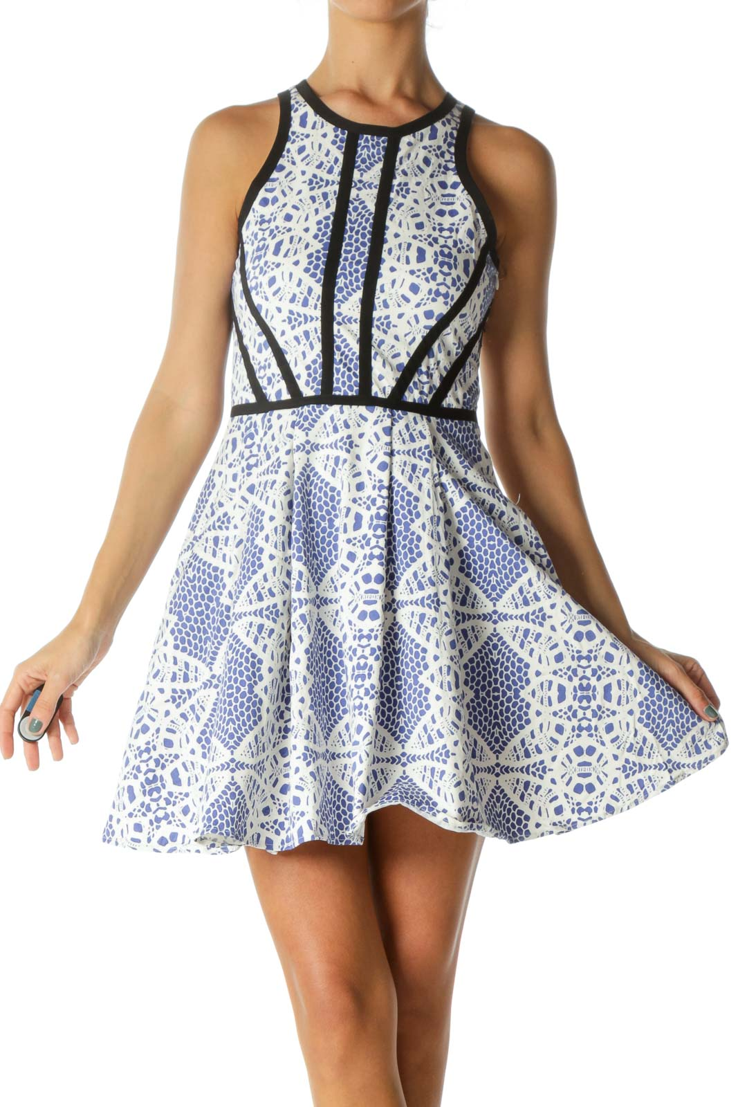 Blue White Black-Piping Detail Print Stretch Pocketed Dress Front