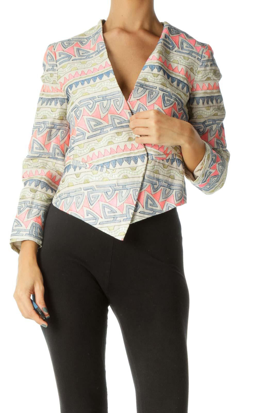 Beige Blue Pink Green Embroidered Blazer Front