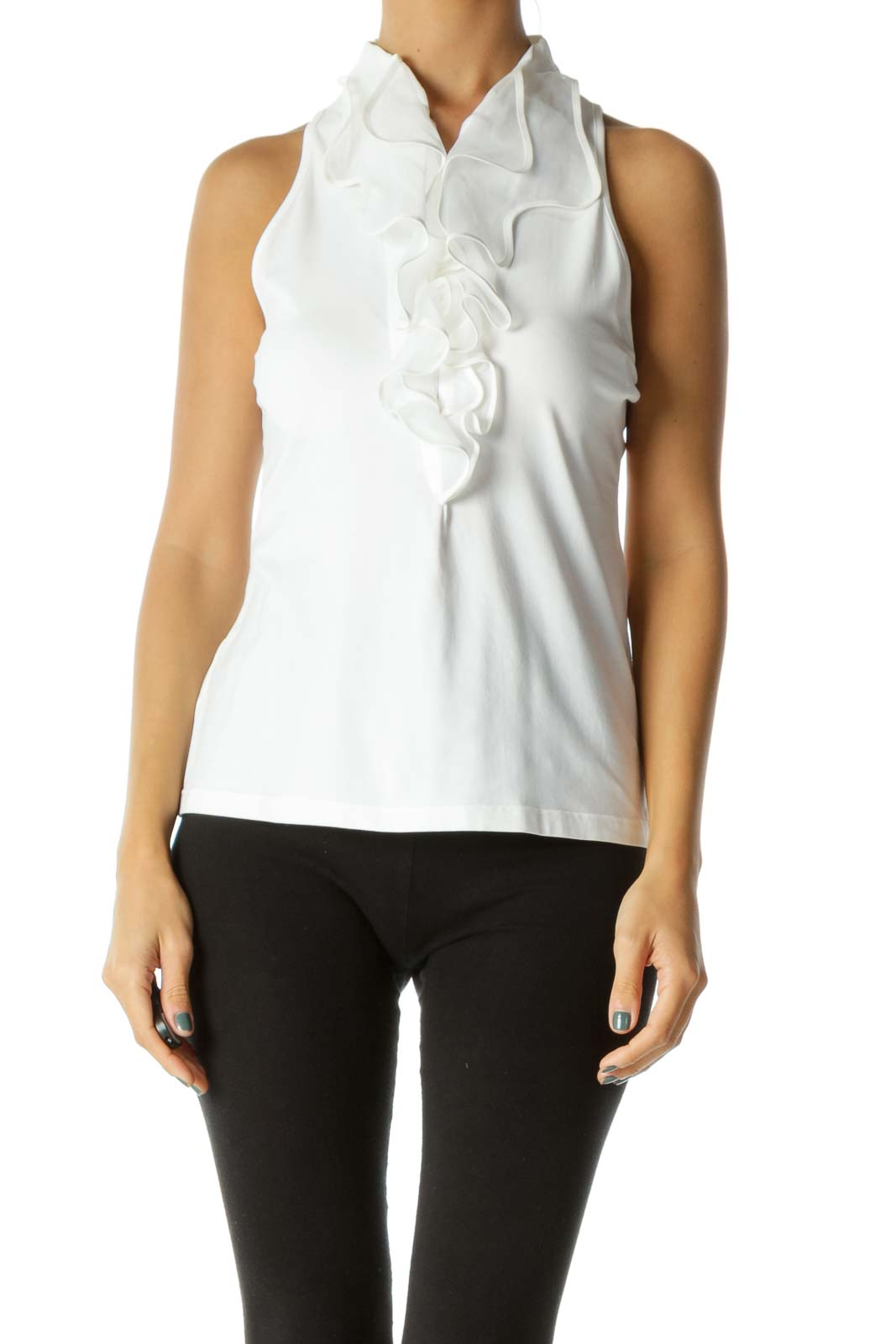 Cream Structured Ruffles Zippered Front Stretch Tank Top Front