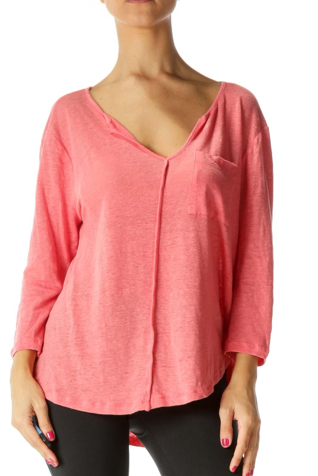 Pink V-Neck Breast Pocket 3/4 Sleeve Knit Top Front