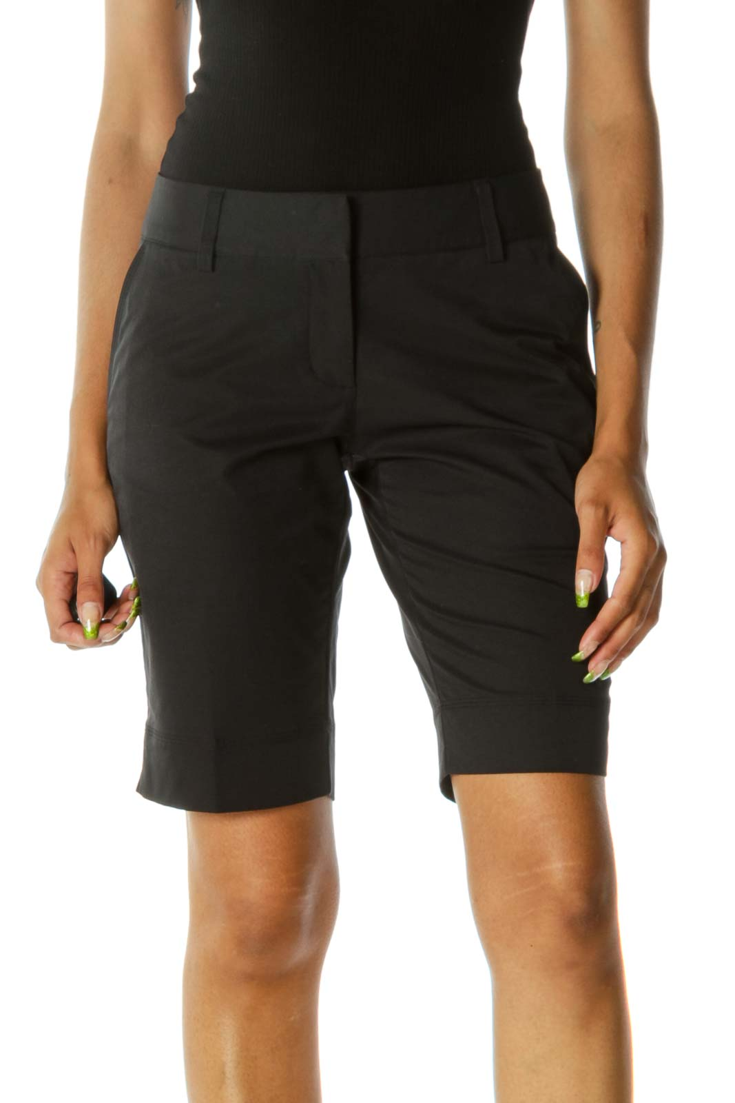 Black Pocketed Stretch Belt-Hoops Active Bermuda Shorts Front