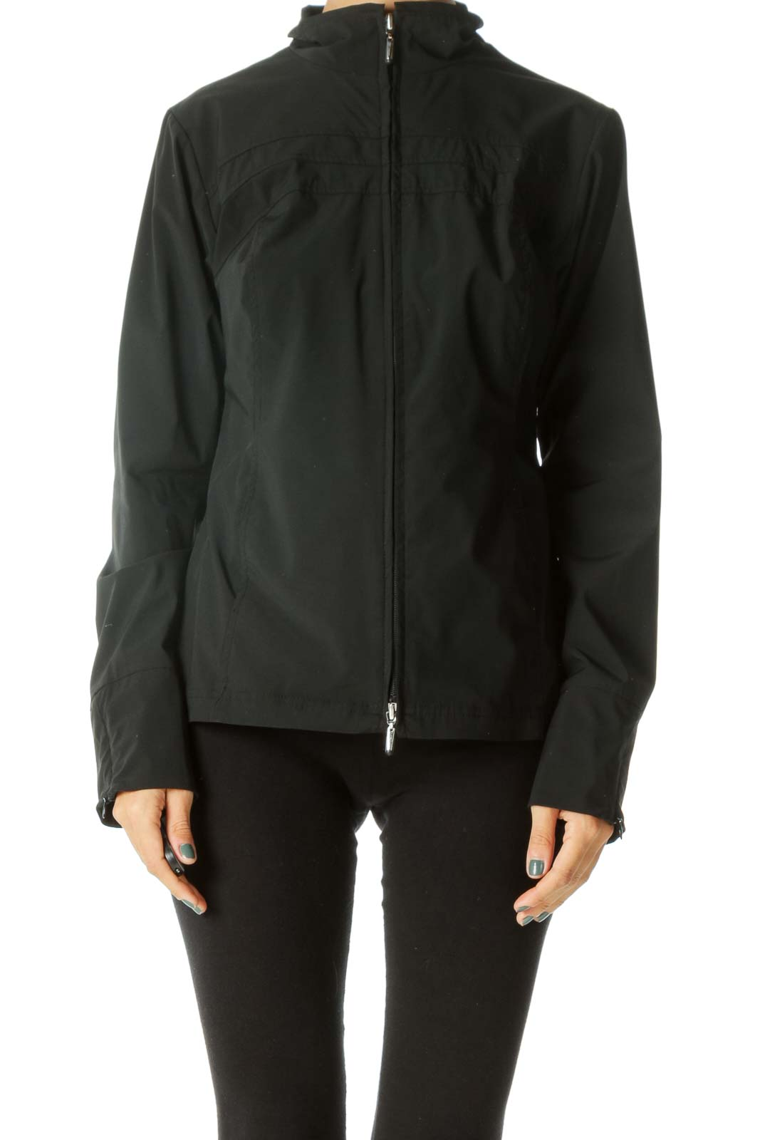 Black Zippered Sleeve Detail Pocketed Stretch Sport Jacket Front