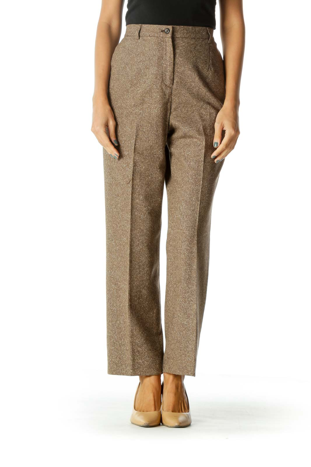 Brown Beige White Wool Silk Blend Textured Pocketed Pants Front