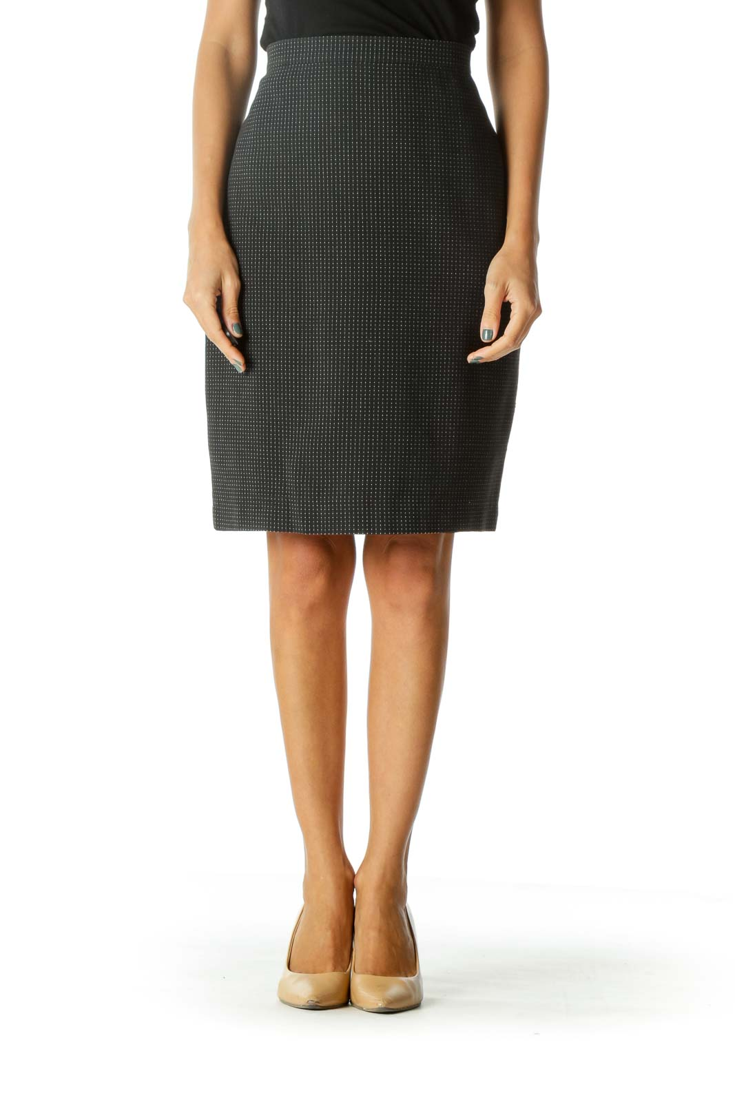 Black White Textured Pattern 100% Cotton Skirt Front