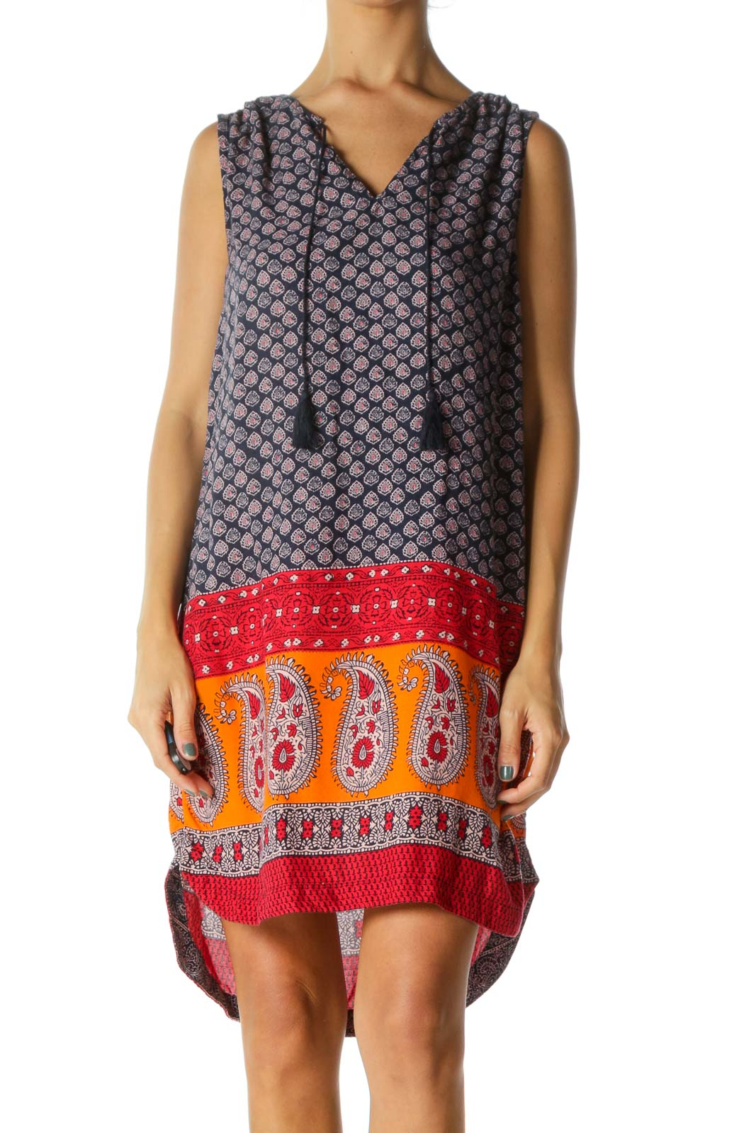 Multicolor Boho Shift Dress Front