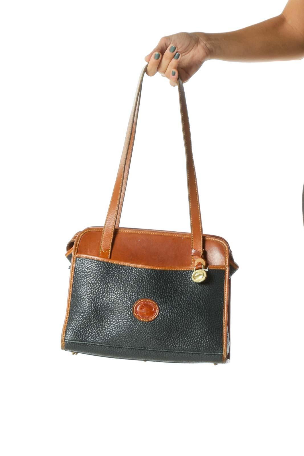 Black and Brown Leather Shoulder Bag Front