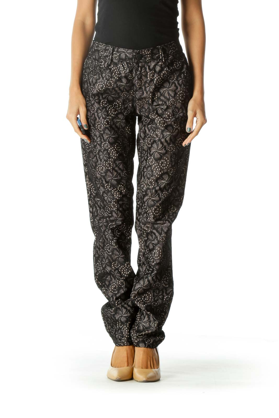 Black Beige Lining Floral Lace Knit Textured Pants Front