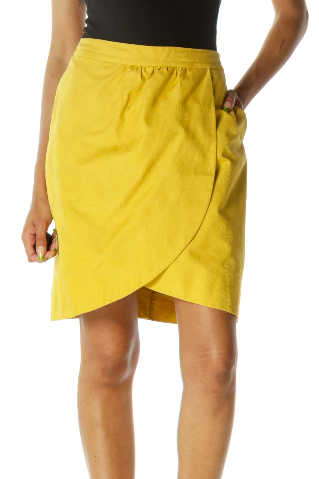 Yellow Jacquard Floral Pattern Zippered Skirt Front